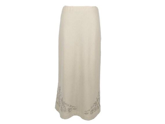 LAURA ASHLEY vintage ecru bias cut wool maxi skirt