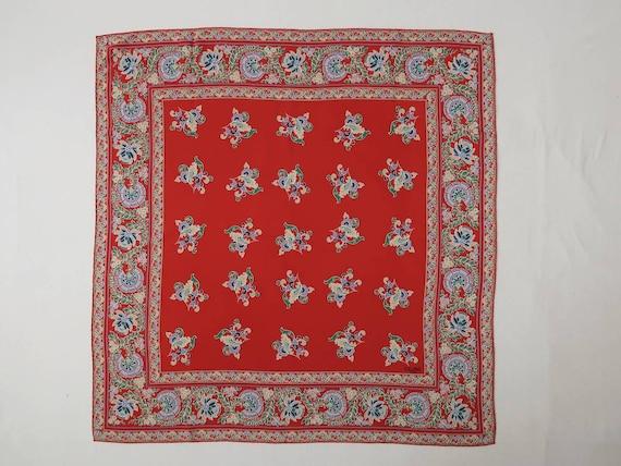 CELINE vintage 90s red floral print silk square sc