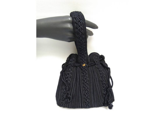 NINA RICCI vintage 80s black passementarie wristle