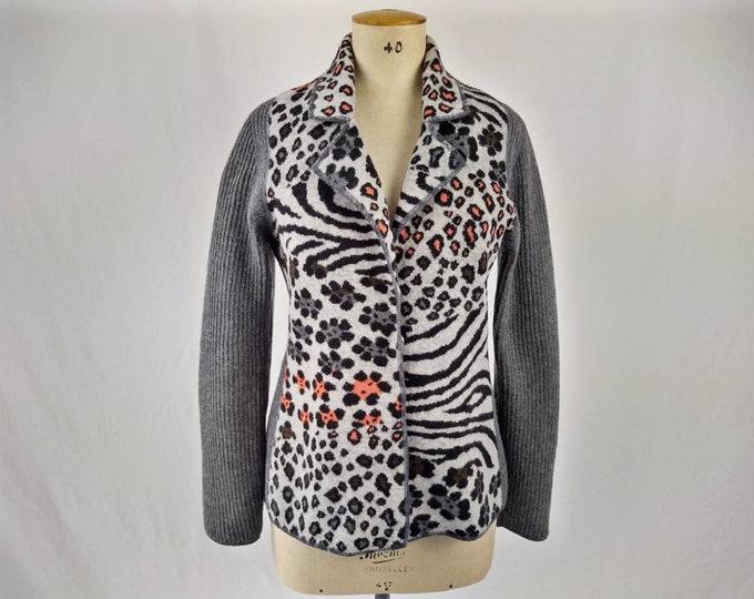 KENZO JEANS vintage 90s multi animal pattern knit blazer / cardigan