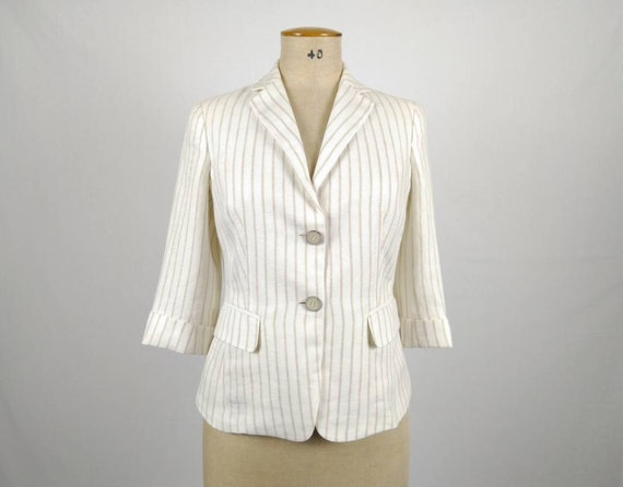 MAX MARA vintage ivory and beige striped linen bla