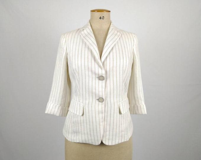MAX MARA vintage ivory and beige striped linen blazer