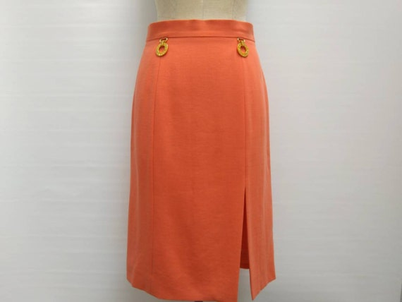 CELINE vintage 80s salmon wool pencil skirt