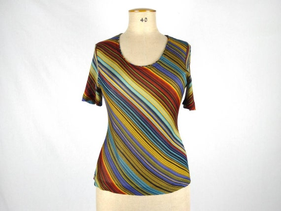 MISSONI vintage multicolor diagonal stripe knit to