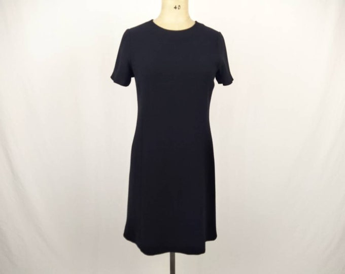 YVES SAINT LAURENT vintage 80s black crepe sheath dress