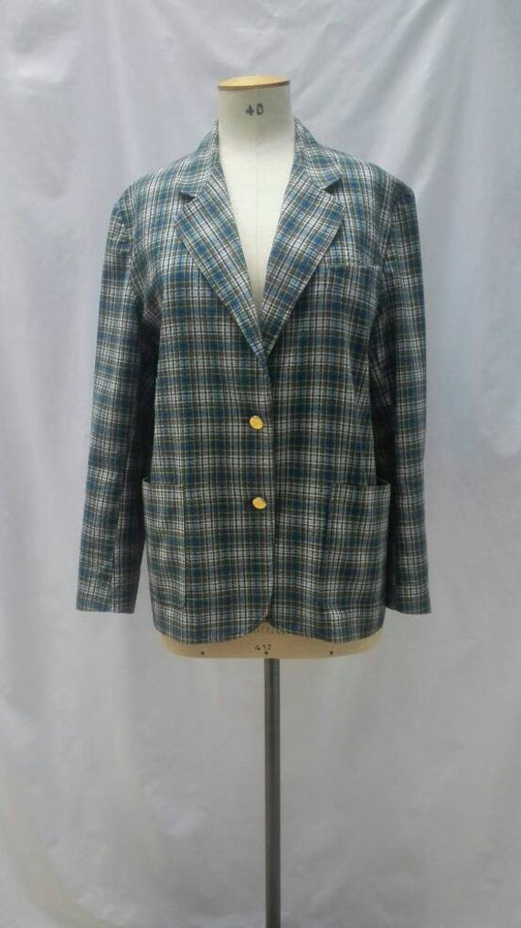 BURBERRYS vintage 80s multicolor check plaid overs