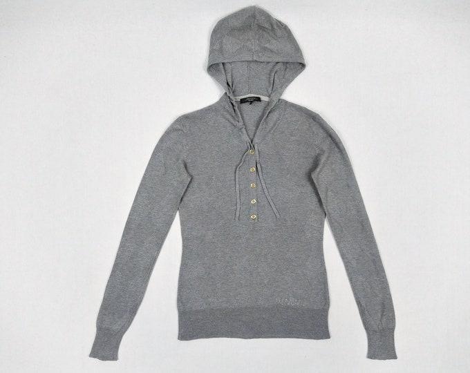 MAX MARA WEEKEND pre-owned grey argyle pattern hooded sweater