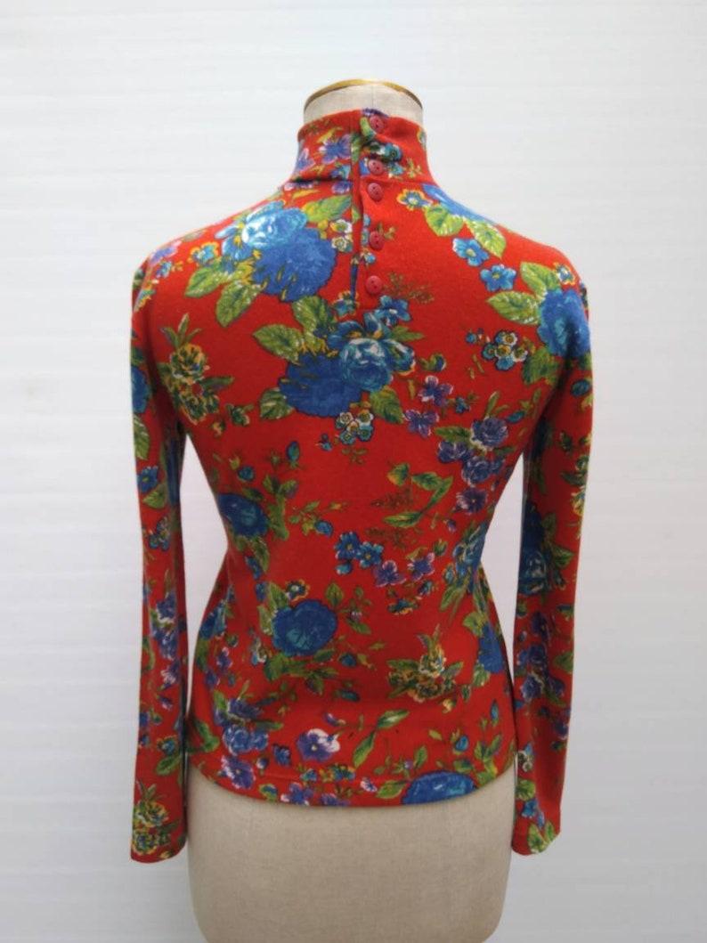 KENZO JUNGLE vintage 80s red floral print mock neck sweater