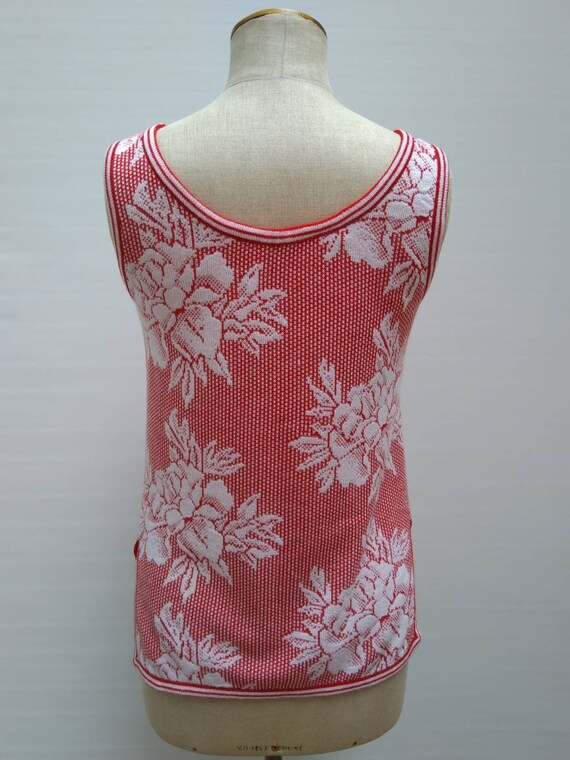 KENZO 70s vintage red and white floral knit sleev… - image 4