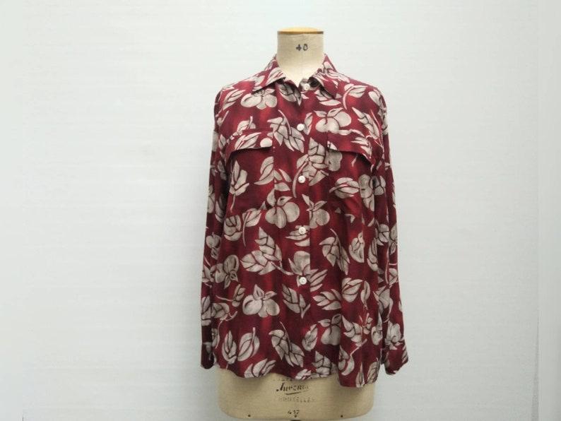 ETIENNE AIGNER vintage 80s burgundy and grey fruit print oversized silk blouse