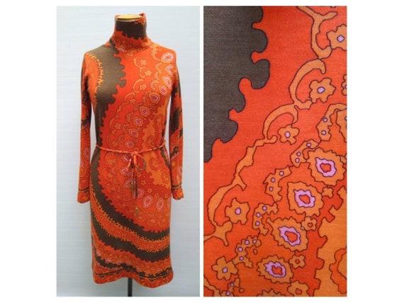 LEONARD vintage early 70s orange psychedelic print