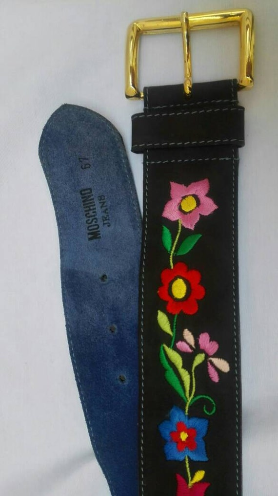 MOSCHINO JEANS vintage 90s flower embroidered belt - image 4