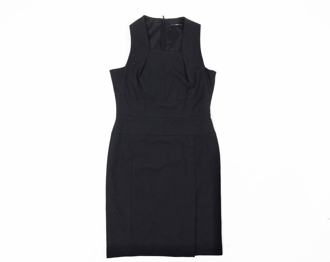 BOSS pre-owned sleeveless black wool sheath dress