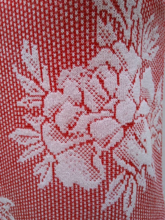 KENZO 70s vintage red and white floral knit sleev… - image 7