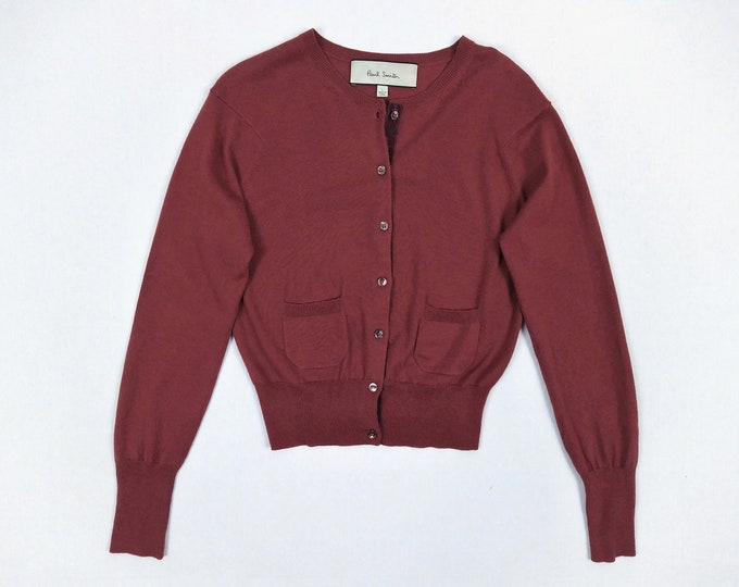 PAUL SMITH pre-owned wine red wool and silk blend cardigan