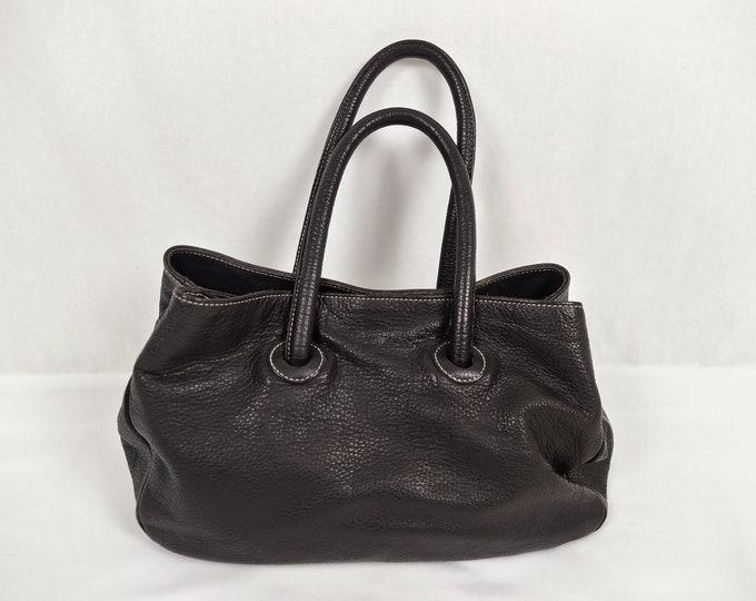 FURLA pre-owned dark brown pebbled leather tote bag