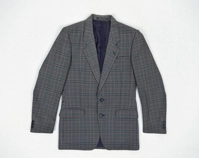 YVES SAINT LAURENT men's vintage 70s plaid wool sport coat / jacket