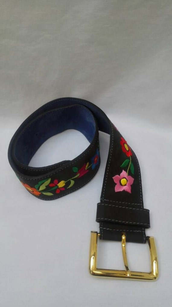 MOSCHINO JEANS vintage 90s flower embroidered belt - image 5
