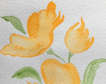 Hand Painted Watercolour Flower Greetings Card