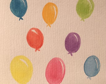 Watercolour Balloon Greetings Card