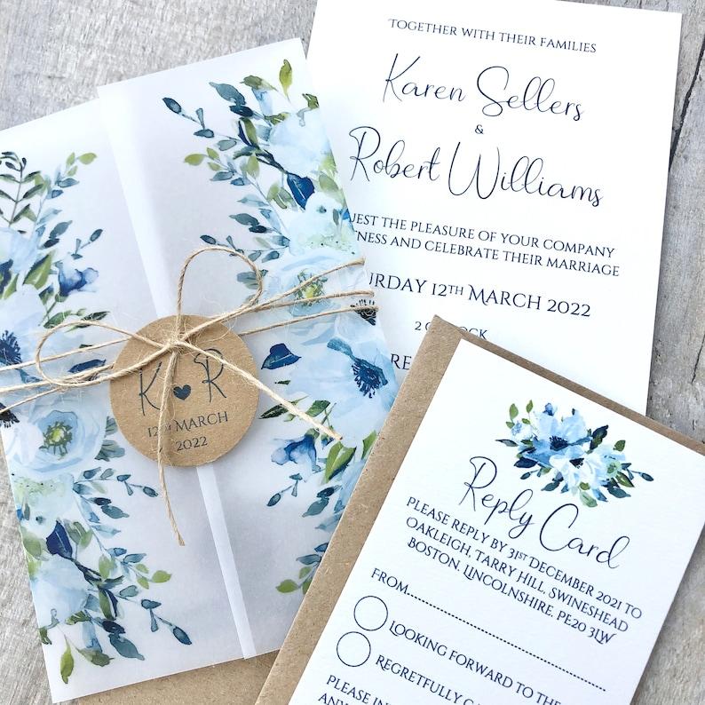 rustic dusty blue vellum wrap wedding invitation  rsvp