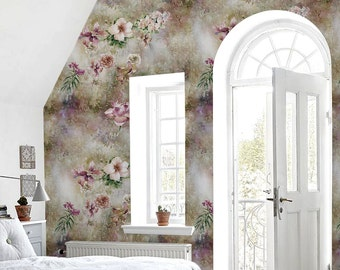 Watercolor leaf and flowers wall mural || Pastel || Floral || Soft and subtle wallpaper #68