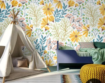 Peel And Stick Bohemian Spring Floral Wallpaper