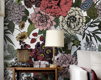 removable floral wallpaper for your home\u0026office by floralcolorayautumn flowers wall mural, beauty floral temporary wallpaper, removable vinyl wallpaper, wall covering, wall sticker 59
