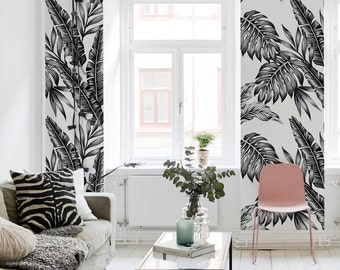Black and white plants wallpaper    Tropical and exotic    Contrastive    Self adhesive #70