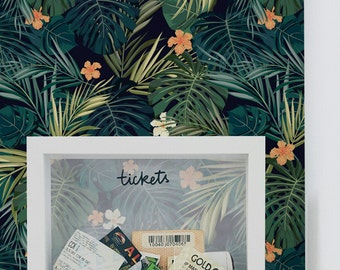 Dark tropical wallpaper || Exotic flowers and leaves wall mural || Self adhesive || Removable #91