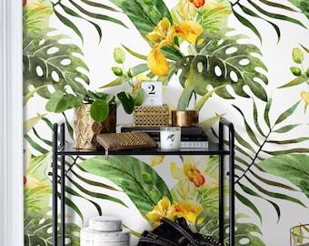 CANNA Blumen Temporäre Tapete || Tropische Blumen Wandbild || Exotische  Blatt Wiederverwendbare Wandaufkleber || Moderne Dekoration #26