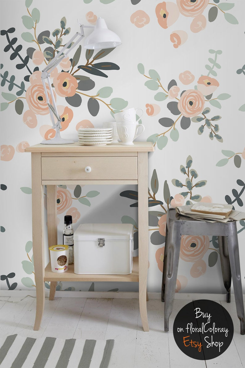 pastel flowers removable wallpaper roses wall mural etsyimage 0