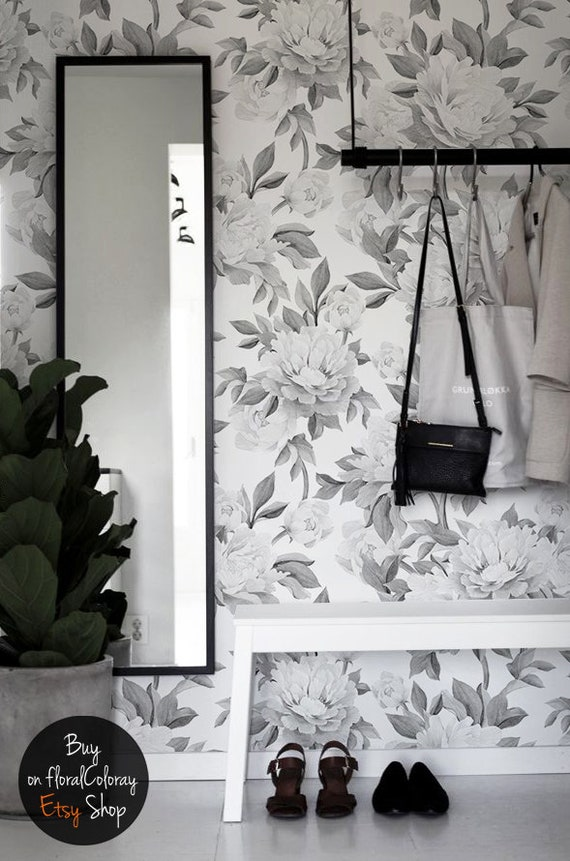 Bw Peonies Removable Wallpaper Floral Wall Mural Self Adhesive Wall Decor Black And White Flowers Wallpaper Peel And Stick 193