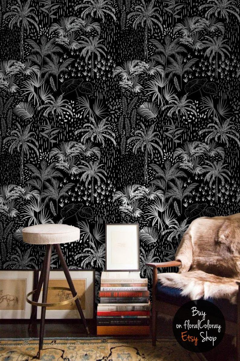 dark jungle wallpaper dark fabric wallpaper tropical etsyimage 0