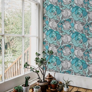 Soft  and elegant wall mural watercolor wallpaper White Self adhesive Turquoise myosotis wallpaper Reusable #110