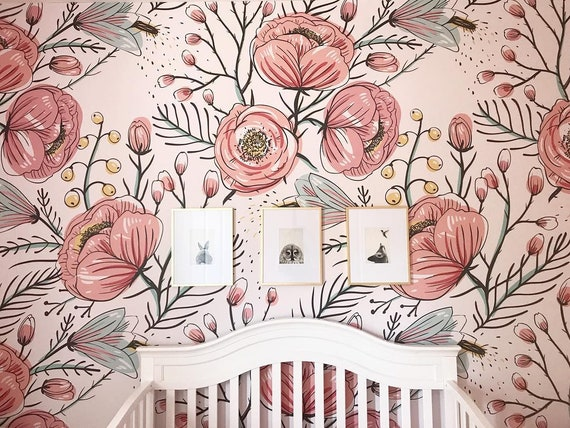 Anemone Fall Wallpaper Removable Peel And Stick Floral Wall Mural Poppy Flowers Wallpaper Reusable Wallpaper 114