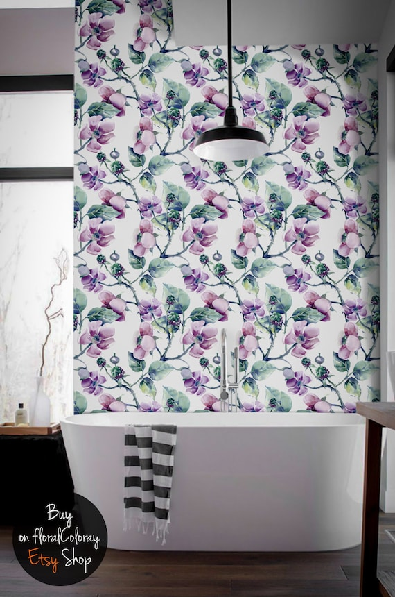 Reusable Wall sticker #97 Removable Spring wild flowers wallpaper Watercolor wall mural Colorful