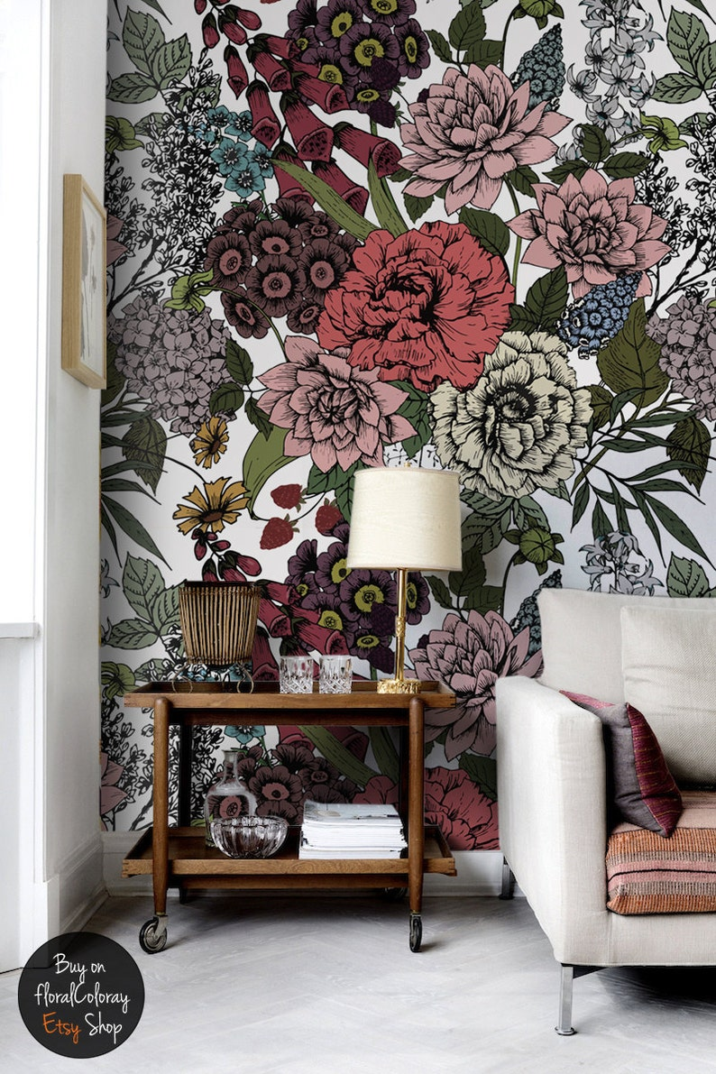 autumn flowers wall mural beauty floral temporary wallpaper etsy