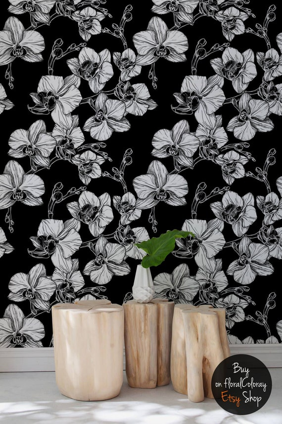 Hand Drawn Orchid Flowers Wallpaper Black And White Elegant Wall Mural Wall Sticker Removable Reusable 95