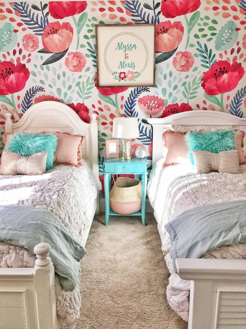 vintage poppy flower wallpaper nursery wallpaper vintage wall art peel and stick wall mural watercolor 52