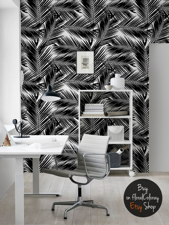 Dark Palm Tree Leaves Wallpaper Black And White Tropical And Exotic Reusable Wall Mural 71