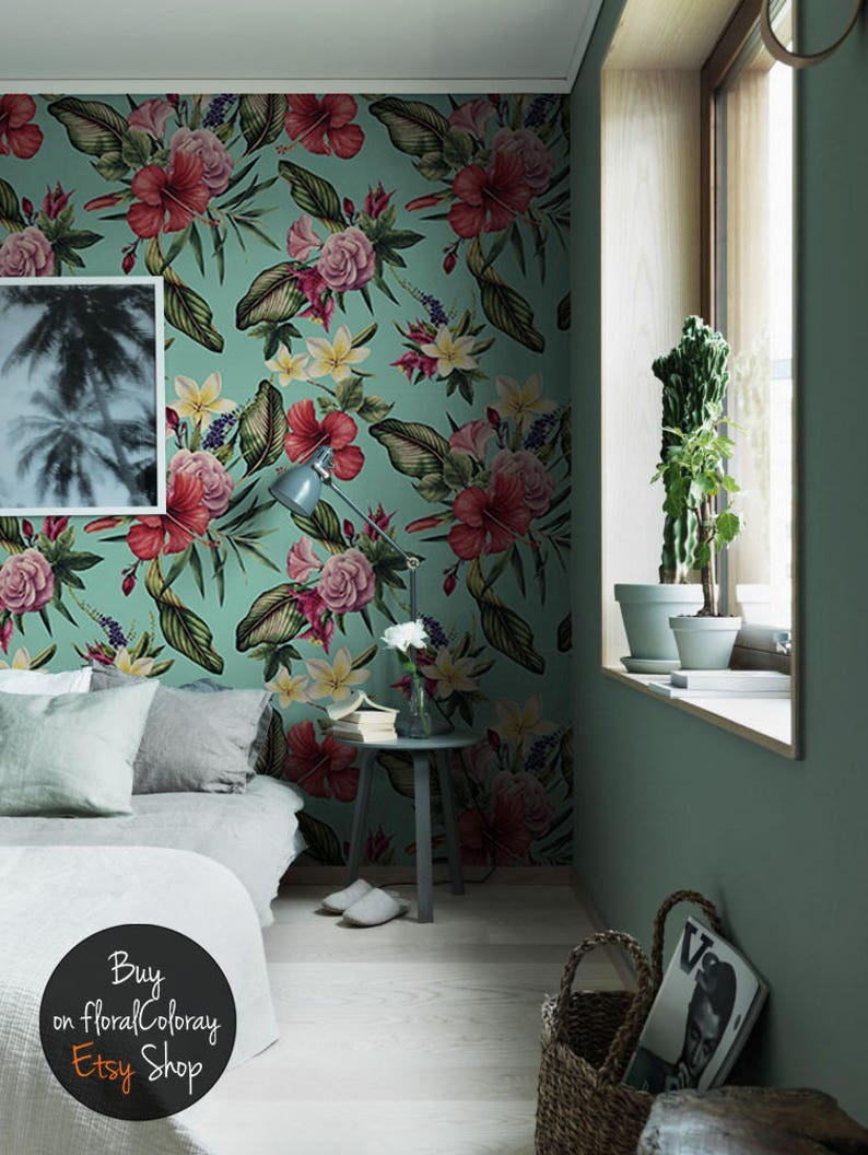 Turquoise Exotic Wallpaper Tropical ...