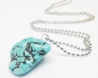 Boho Turquoise Necklace, Boho Long Necklace, Boho Layered Necklace, Turquoise Nugget Necklace, Turquoise Pendant Necklace, Holiday Gift