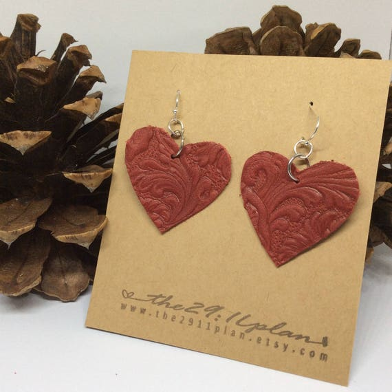 Red Leather Earrings Leather Dangle Earrings Valentine Day Gift for Wife Red Heart Earrings Leather Boho Earrings Ruby Red Earrings