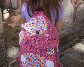 Pink Cat Kitty Fabric Backpack