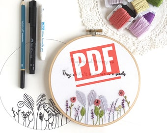 Hand Embroidery Pattern, embroidery kit, she might be a wildflower, modern embroidery, craft supply, floral embroidery, gift for her