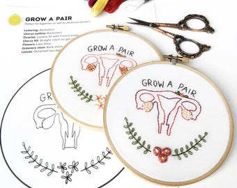 Embroidery pattern pdf, beginner embroidery kit, feminist embroidery pattern, modern embroidery, digital download, gift for her, crafty