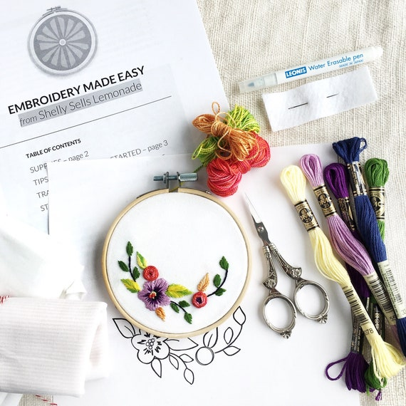 Floral Hand Embroidery Pattern Learn To Embroider Guide Etsy