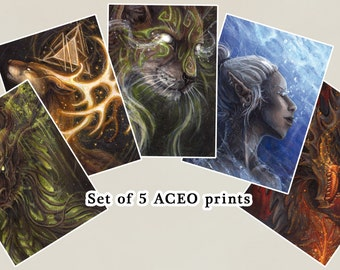 Set of 5 ACEO Prints
