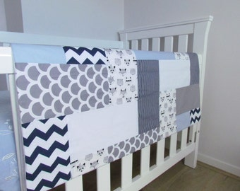 Fox Patchwork Cot Quilt made to order.  Customisable  Baby Bedding, Modern Nursery Quilt, , baby boy nursery